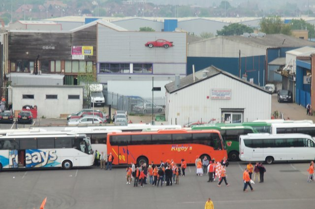Blackpool supporters coach at Wembley Stadium