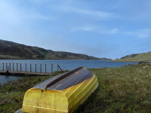 Upturned boat on Glenastle Loch