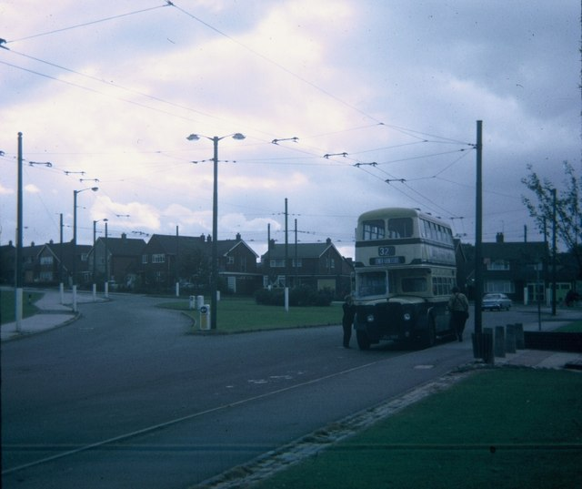 An ex-Birmingham bus at Lower Farm Estate