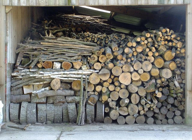 Stack of logs at Follies Farm, Tugley