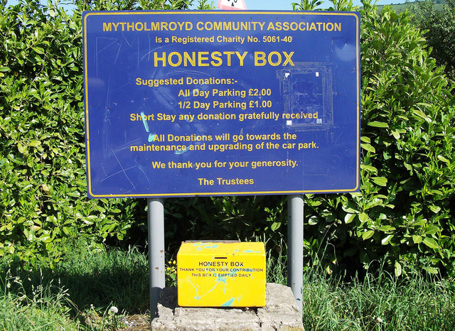 Honesty box in car park © michael ely :: Geograph Britain ...
