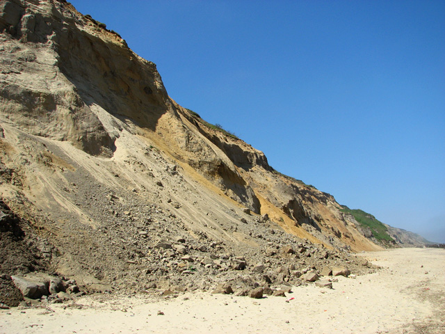 Eroding cliff face at Trimingham beach