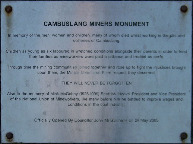 Plaque on the Cambuslang Miners' Monument