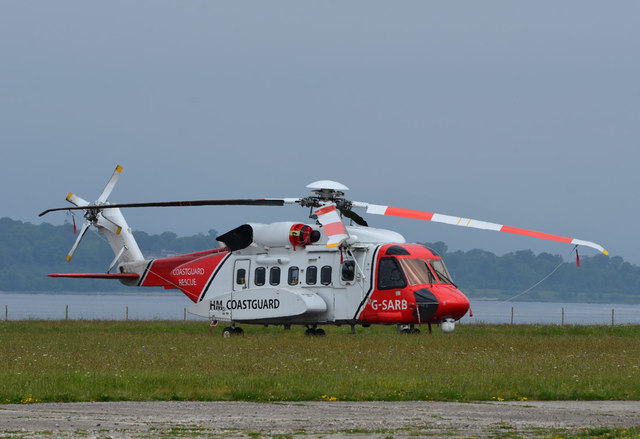 Coastguard helicopter at Oban Airport