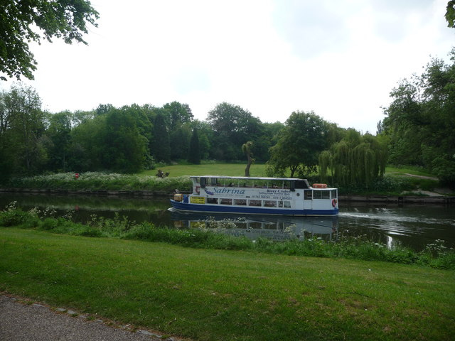 River cruise boat on the Severn in Shrewsbury