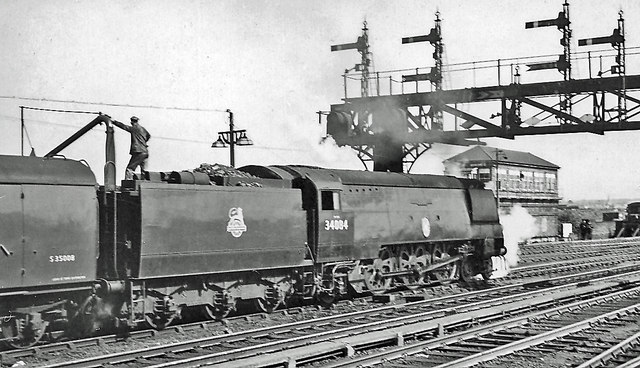 Bulleid 'Battle of Britain' Light Pacific on Down express at Ashford