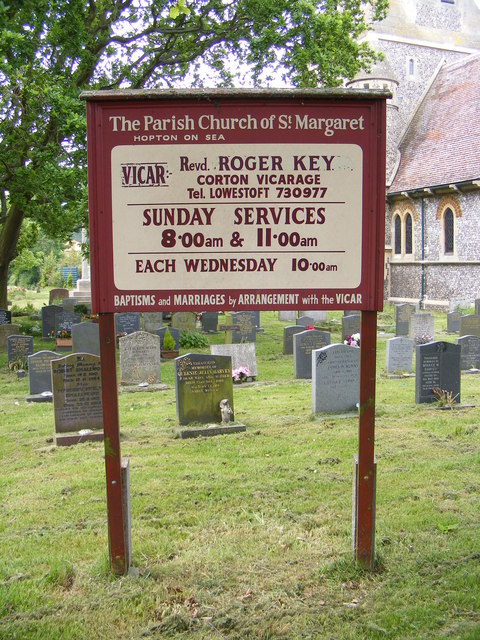 St.Margaret's Church sign, Hopton-on-Sea