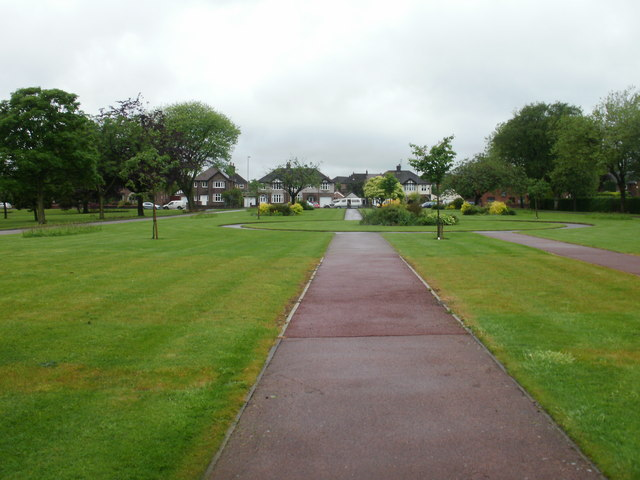 Walkway and lawns, St Helens Crematorium