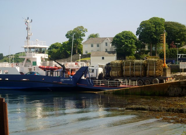Heavy load being driven on to the Portaferry II