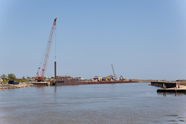 Pile driving at mouth of River Blyth