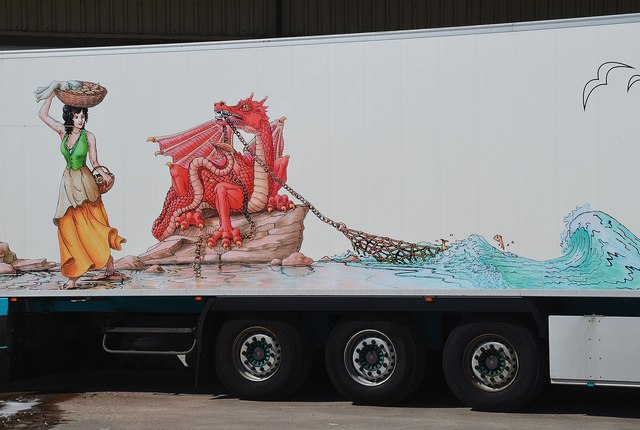 Artwork on a fish lorry, Lochinver