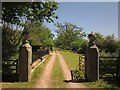 ST0410 : Gateposts, West Lodge by Derek Harper