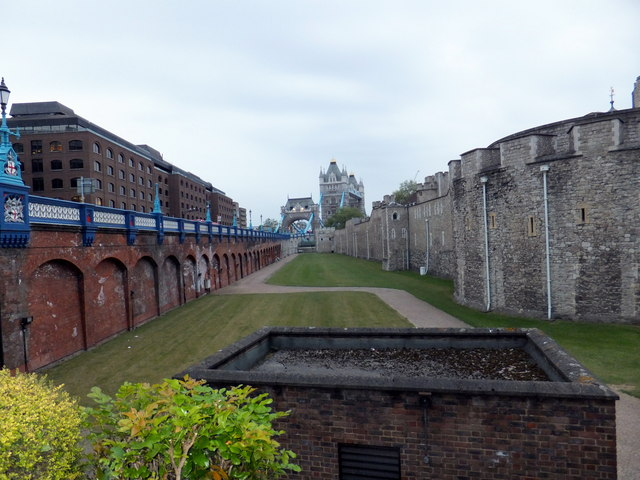 Tower of London looking toward Tower Bridge