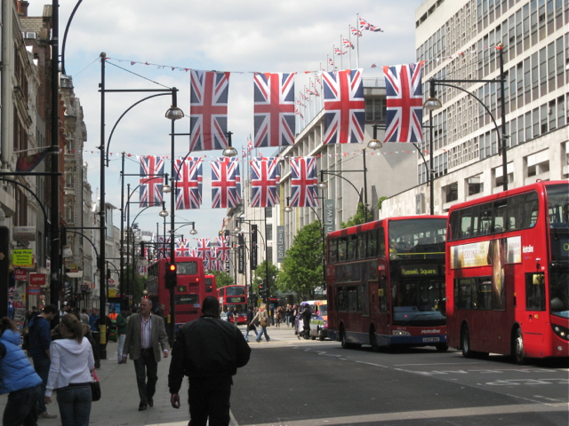 Union Jacks over Oxford Street