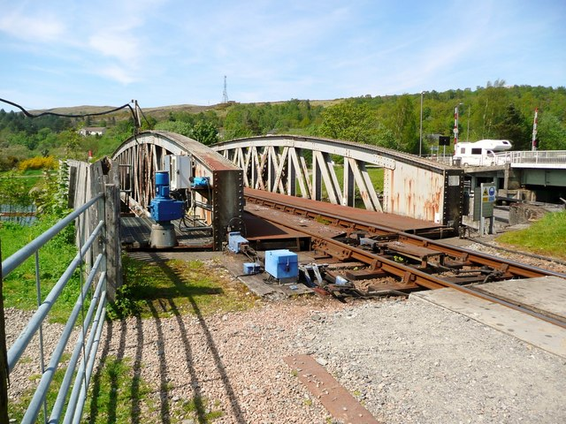 Opening railway bridge at Banavie