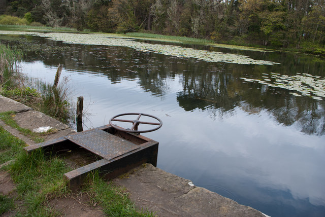 Sluice at the outflow from the lake at Howick Hall Gardens