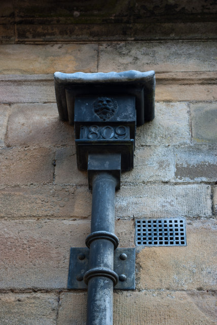 Rainwater head at Howick Hall