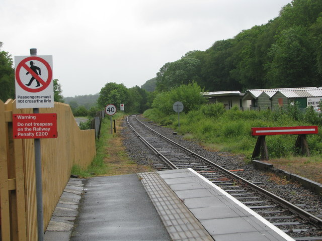 The railway line east of Okehampton Station