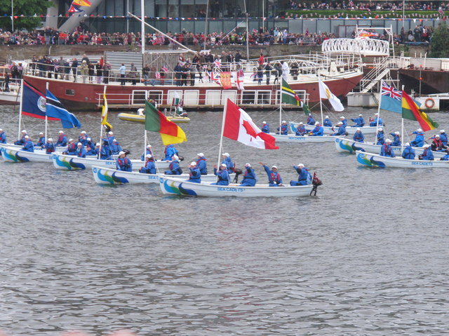 Diamond Jubilee Pageant - sea cadets with 55 Commonwealth flags