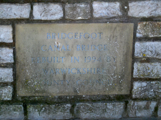 Bridgefoot canal bridge inscription 1994