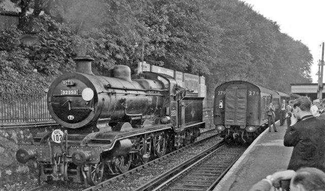 Ex-LB&SCR K class 2-6-0 on RCTS Rail Tour running round its train at Preston Park
