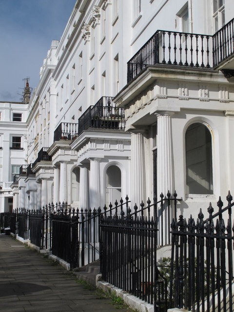 Porches at Sussex Square, BN2 (east side, north of Eastern Road)