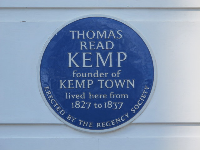 Blue plaque re Thomas Kemp, Sussex Square, BN2