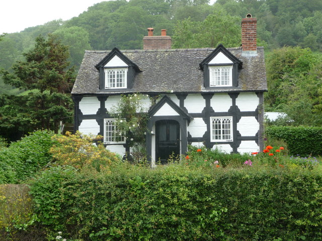 Black and white cottage near Fron, Powys