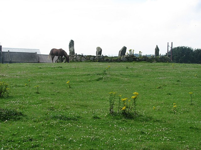 Stone circle on the Causey Mounth