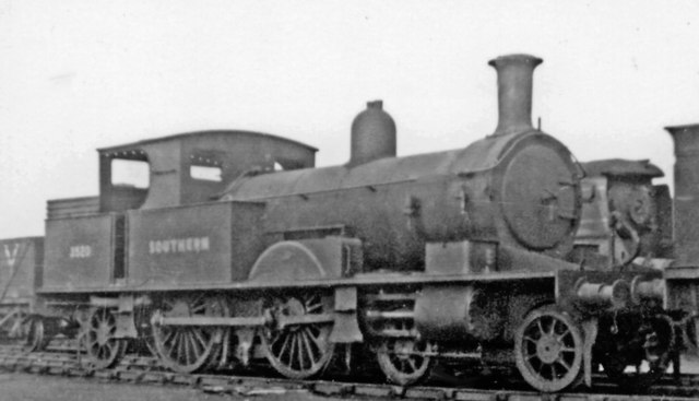 Ex-LSWR Adams 4-4-2T awaiting Works at Eastleigh