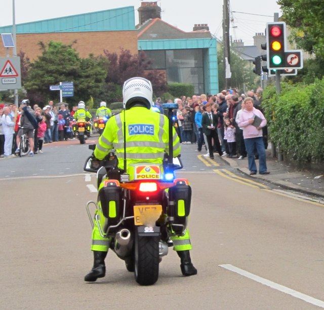 PSNI motorcycle escort to the Olympic Flame procession at the Shimna Road/Bryansford Road cross roads