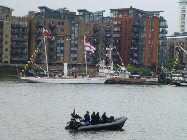 Police security on the Thames near Butler's Wharf