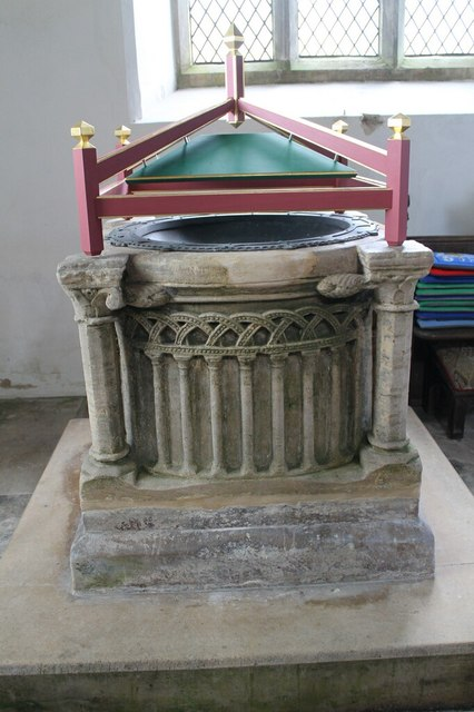 Font, All Saints' church, Coleby