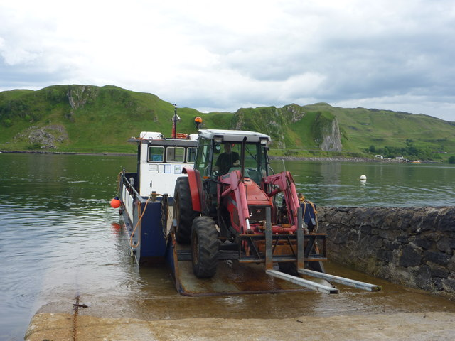 Coastal Argyll : The Tractor Comes Ashore at Balliemore, Island of Kerrera