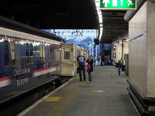 Boarding the Caledonian Sleeper at London Euston station