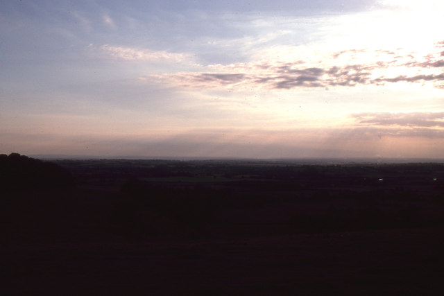 Farthing Common: evening view towards Straits of Dover
