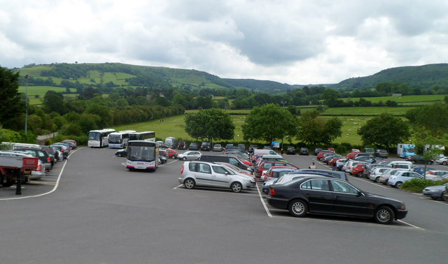 Nearly full main car park, Hay-on-Wye