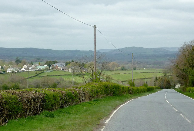 The A4081 descending towards Llandrindod Wells, Powys