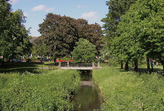 The Roath Brook at the north western end of Roath Park Recreation Ground