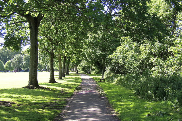 The pathway along the Northeastern edge of Roath Park Recreation ground
