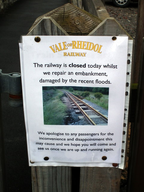 Vale of Rheidol Railway closed due to flood damage