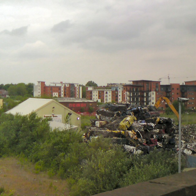 Crushed cars at Cornbrook