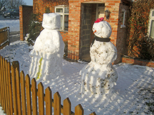 Snow figures at Corner Cottage