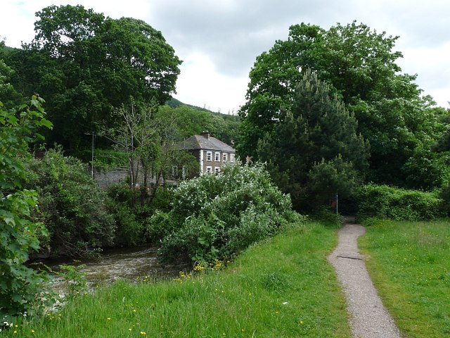 Footpath alongside the River Rhymney, Machen