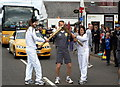 NO4551 : Olympic Torch in Brechin Road, Forfar at its junction with Muir Street at Zoar by Alan Morrison