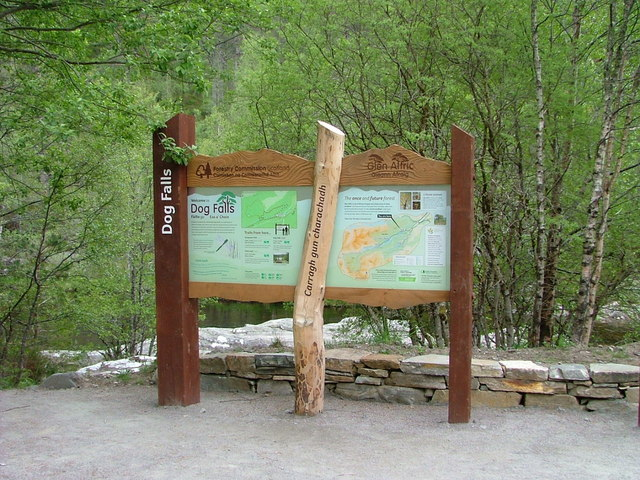 Information board at Dog Falls