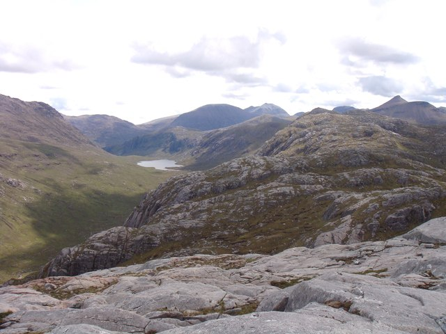 On a rocky crag east of Creag-mheall Mor