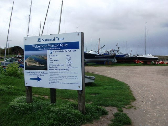National Trust information board, Morston Quay