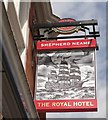 TQ9274 : The Royal Hotel, pub sign Sheerness by David Anstiss