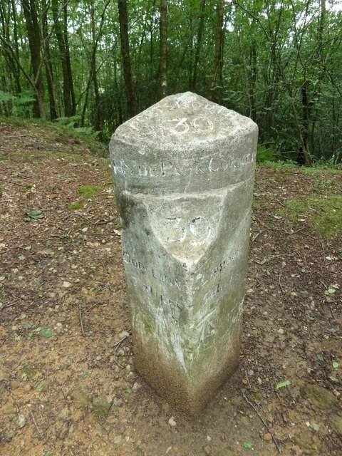 Recently discovered mile post at Hindhead